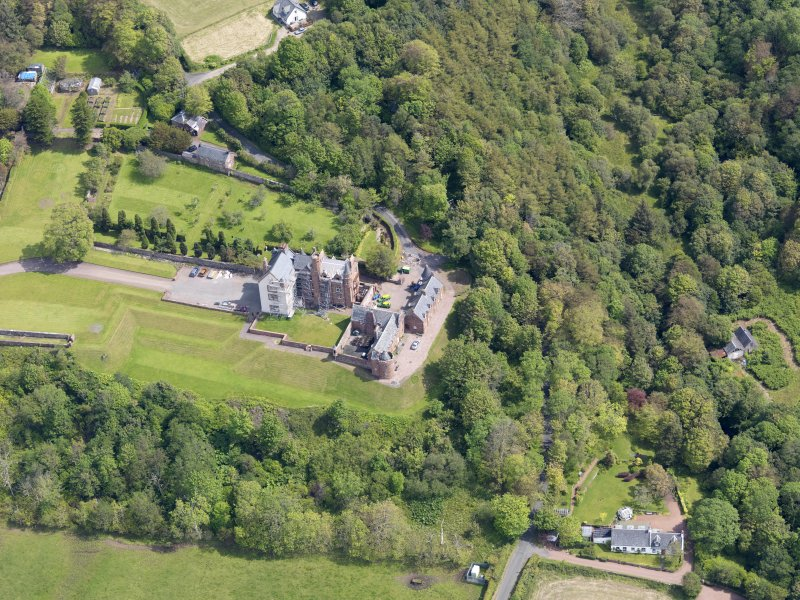 Oblique aerial view of Skelmorlie Castle, taken from the WSW.