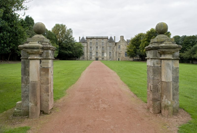 View of the gate piers to Kinneil House, Bo'ness, taken from the North-East. This photograph was taken as part of the Bo'ness Urban Survey to illustrate the character of the Kinneil Area of Townscape Character.