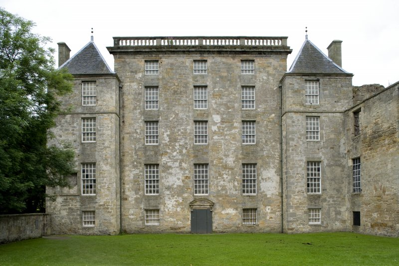 View of the East elevation of Kinneil House, Bo'ness, taken from the East. This photograph was taken as part of the Bo'ness Urban Survey to illustrate the character of the Kinneil Area of Townscape Character.