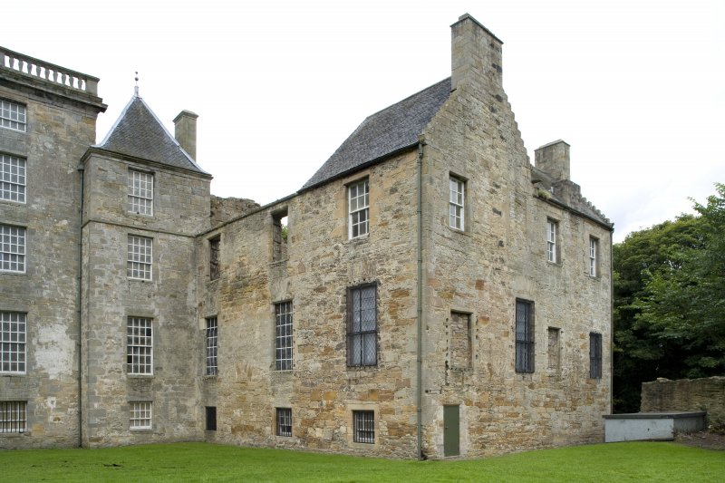 View of the North wing of Kinneil House, taken from the South-East. This photograph was taken as part of the Bo'ness Urban Survey to illustrate the character of the Kinneil Area of Townscape Character.