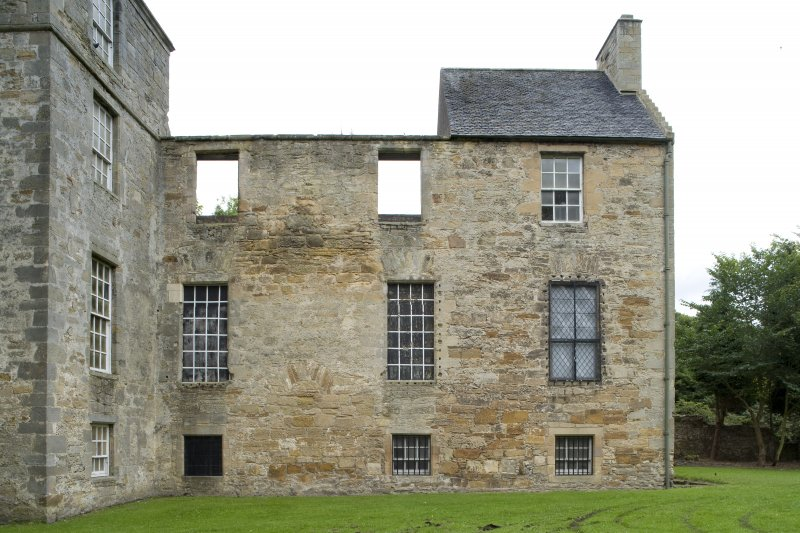 View of the North wing of Kinneil House, taken from the South. This photograph was taken as part of the Bo'ness Urban Survey to illustrate the character of the Kinneil Area of Townscape Character.
