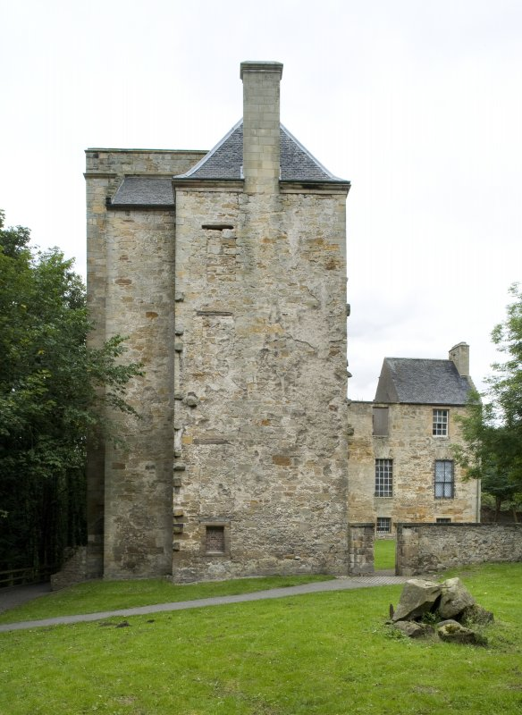 View of the South elevation of Kinneil House, Bo'ness. The North wing is visible in the background. This photograph was taken as part of the Bo'ness Urban Survey to illustrate the character of the Kinneil Area of Townscape Character.