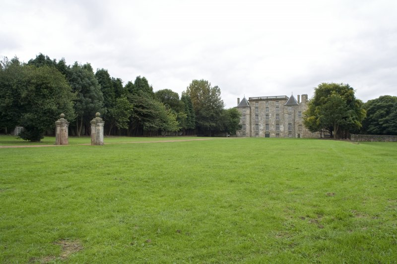 View looking towards Kinneil House and gate piers, Bo'ness, taken from Duchess Anne Cottages to the North-East. This photograph was taken as part of the Bo'ness Urban Survey to illustrate the character of the Kinneil Area of Townscape Character.