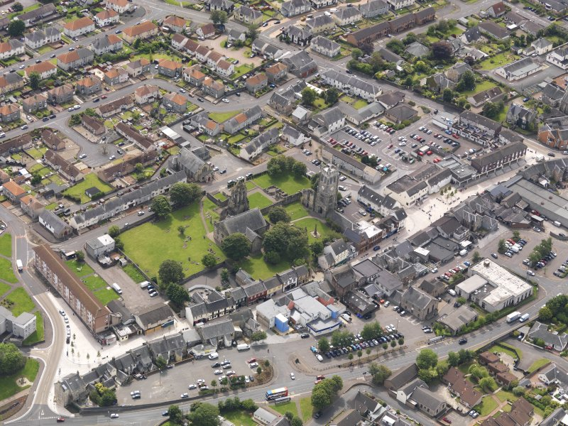 Oblique aerial view of Kilwinning Abbey, taken from the NE.