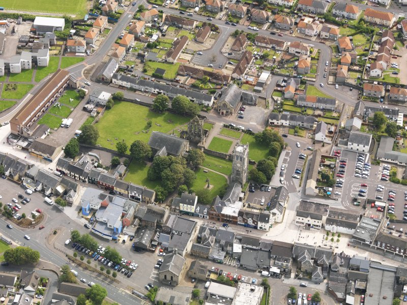 Oblique aerial view of Kilwinning Abbey, taken from the NNW.