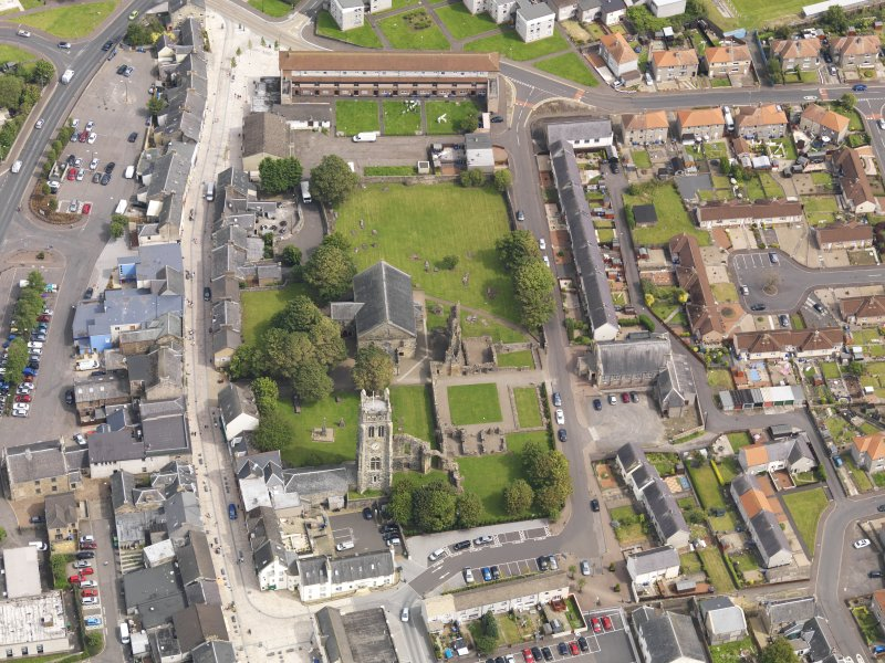 Oblique aerial view of Kilwinning Abbey, taken from the W.