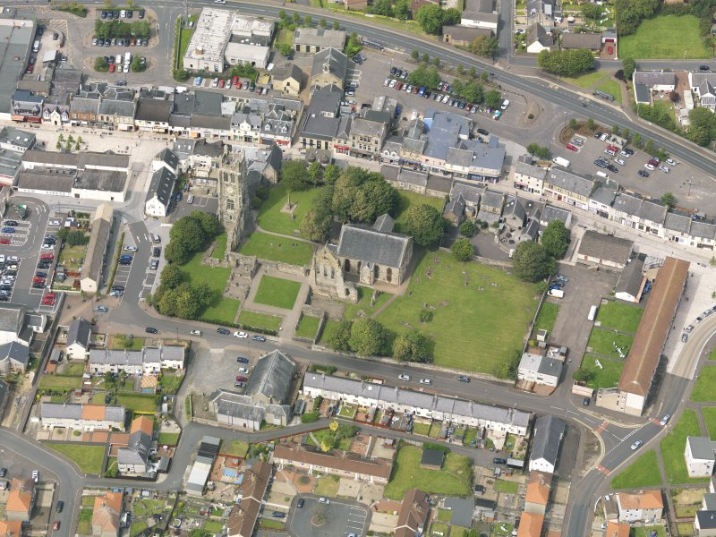 Oblique aerial view of Kilwinning Abbey, taken from the SSE.