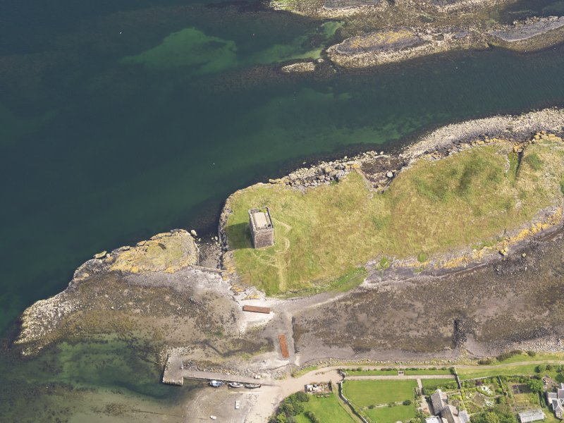 Oblique aerial view of Little Cumbrae Castle, taken from the WNW.