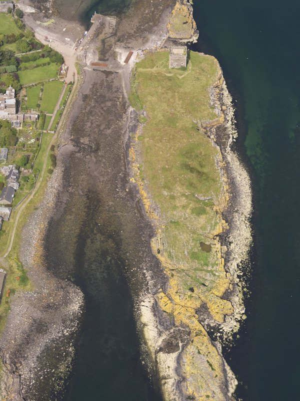 Oblique aerial view of Little Cumbrae Castle, taken from the S.