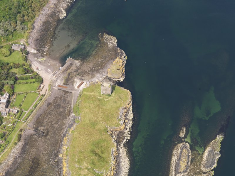 Oblique aerial view of Little Cumbrae Castle, taken from the SSE.