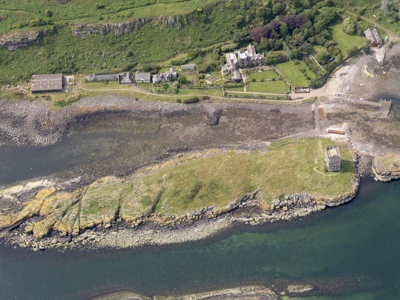 Oblique aerial view of Little Cumbrae Castle, taken from the ESE.