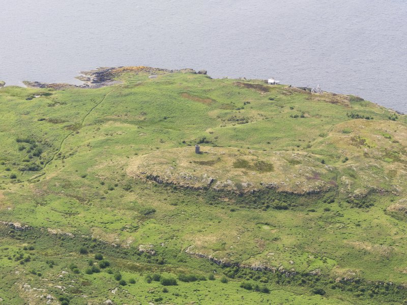 General oblique aerial view of Little Cumbrae Old Lighthouse, taken from the ENE.