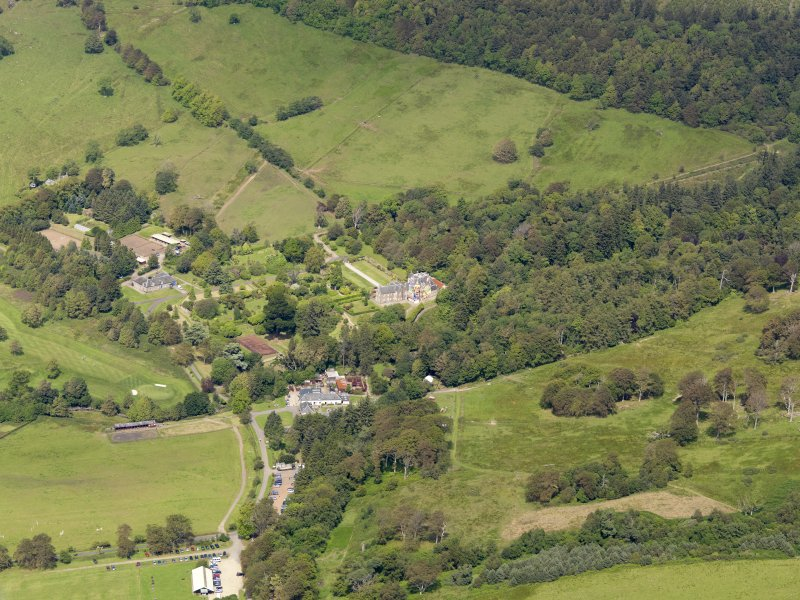 General oblique aerial view of Kelburn Castle and policies, taken from the SSW.