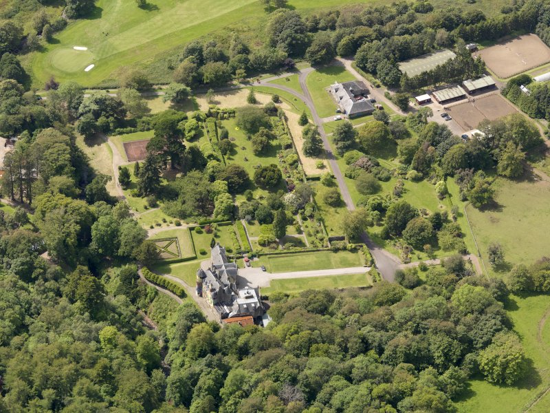 General oblique aerial view of Kelburn Castle and policies, taken from the E.