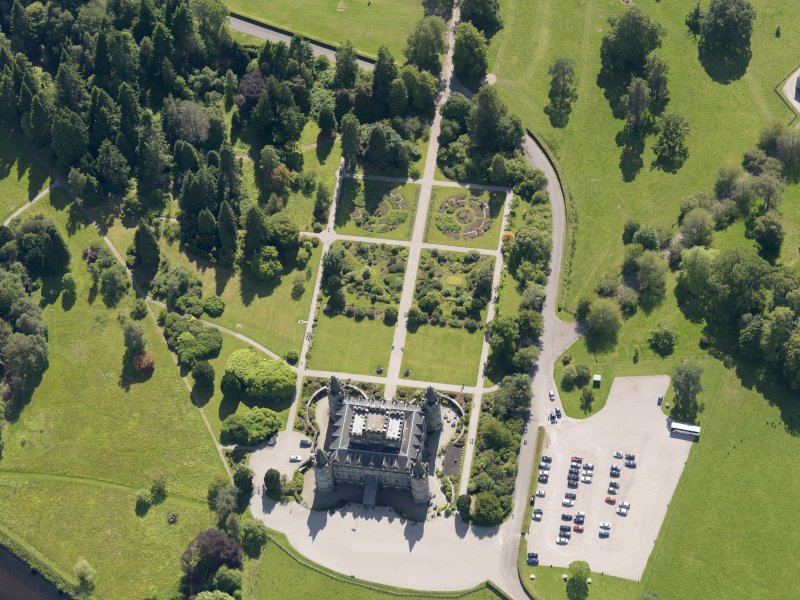 Oblique aerial view of Inveraray Castle and gardens, taken from the NE.