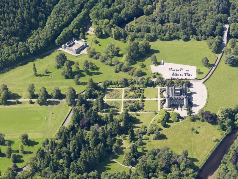General oblique aerial view of Inveraray Castle and policies, taken from the SE.