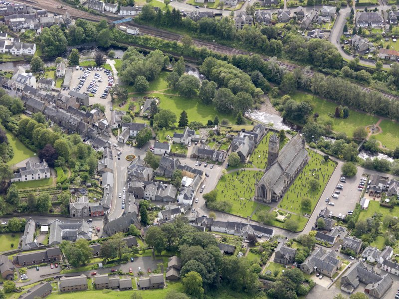 Oblique aerial view of Dunblane Cathedral, taken from the NE.