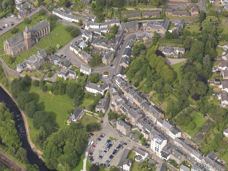 Oblique aerial view of Dunblane Cathedral, taken from the SW.