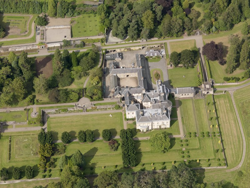 Oblique aerial view of Keir House and gardens, taken from the SSW.