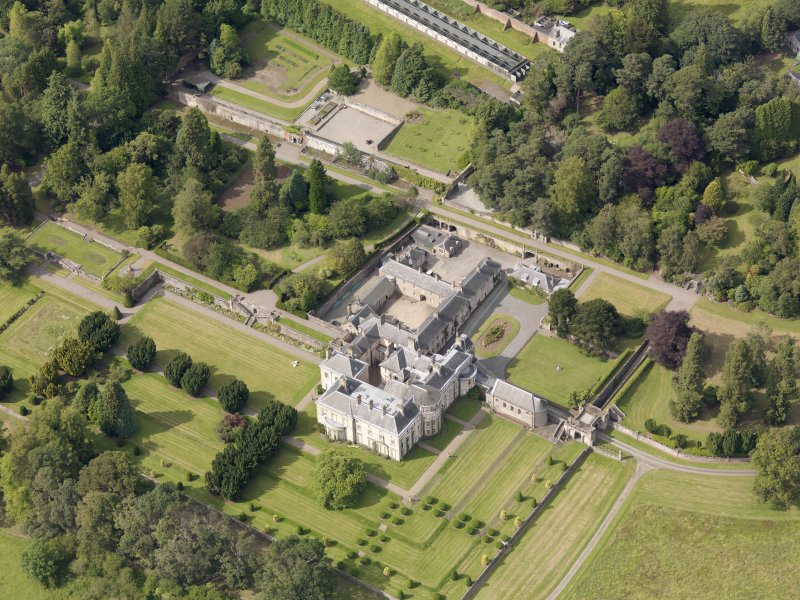 Oblique aerial view of Keir House and gardens, taken from the SSE.