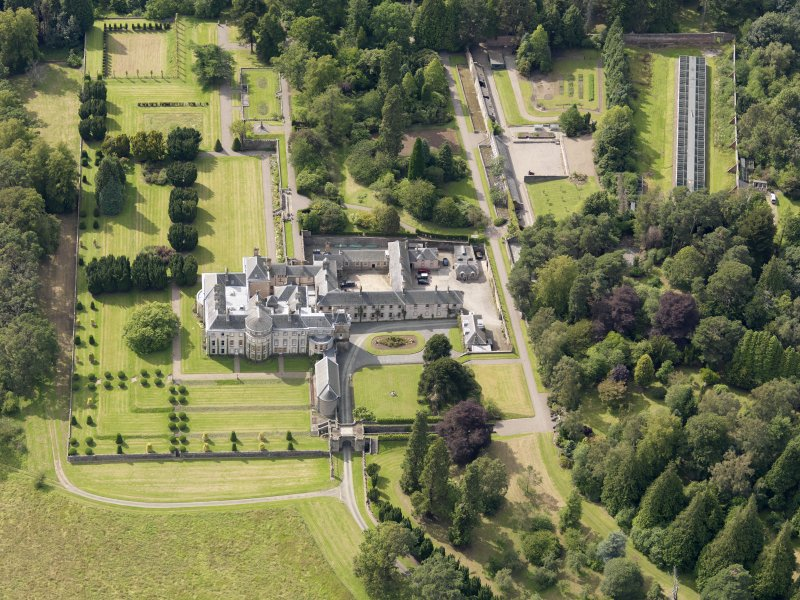 Oblique aerial view of Keir House and gardens, taken from the ESE.