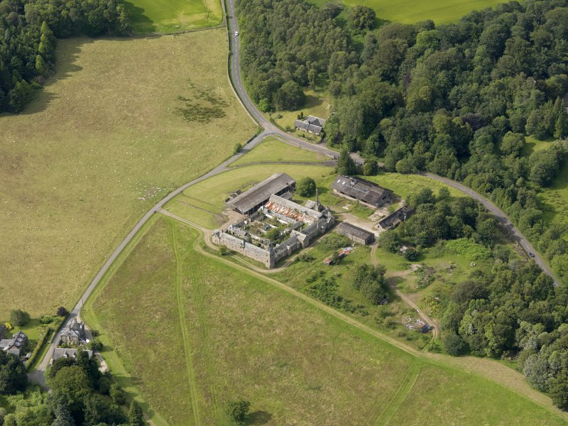 Oblique aerial view of Keir House Home Farm, taken from the SE.