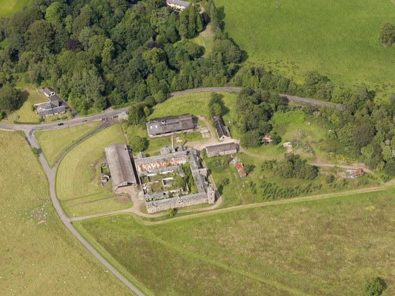 Oblique aerial view of Keir House Home Farm, taken from the SSW.