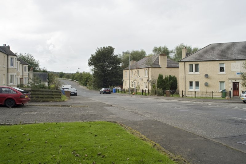 Street view showing the junction of Snab Lane and Grangemouth Road, Bo'ness, taken from the South-East looking towards 1 and 2 Snab Lane. This photograph was taken as part of the Bo'ness Urban Survey to illustrate the character of the Corbiehall and Snab Area of Townscape Character.