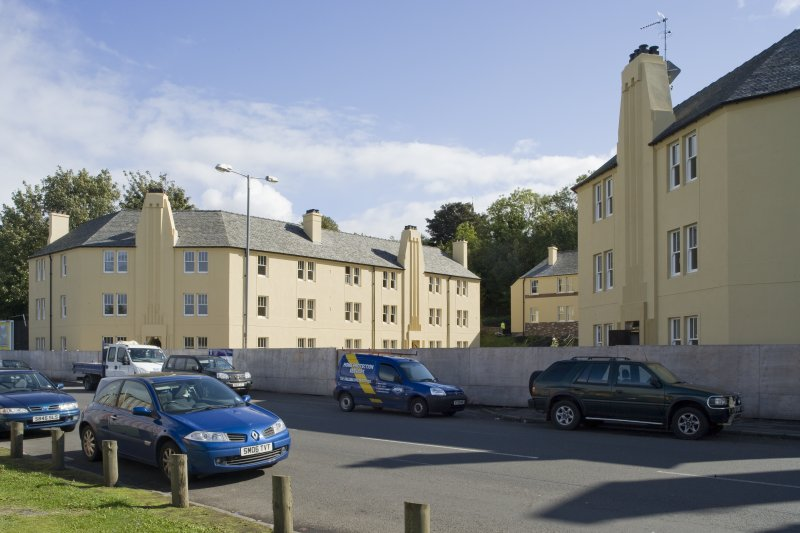View of 20th century council housing, designed by Matthew Steele, at 43-51 Corbiehall, Bo'ness, taken from the North-West. This photograph was taken as part of the Bo'ness Urban Survey to illustrate the character of the Corbiehall and Snab Area of Townscape Character.