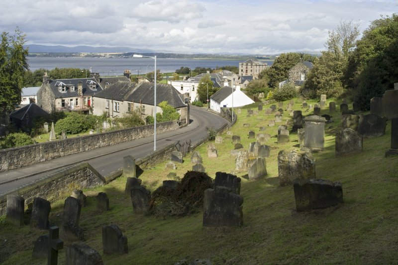 General street view showing Church Wynd, Bo'ness, taken from Bo'ness Parish Churchyard to the South-West. This photograph was taken as part of the Bo'ness Urban Survey to illustrate the character of the Corbiehall and Snab Area of Townscape Character.