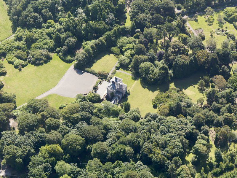 Oblique aerial view of Logan House and gardens, taken from the NW.