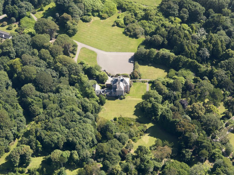 Oblique aerial view of Logan House and gardens, taken from the WSW.