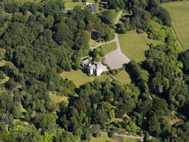 Oblique aerial view of Logan House and gardens, taken from the SSW.