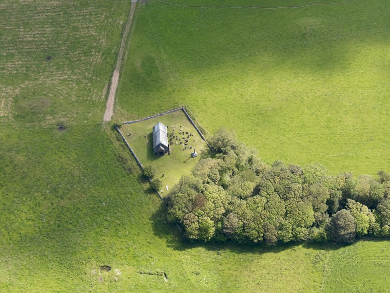 Oblique aerial view of Kirkmadrine Church, taken from the W.