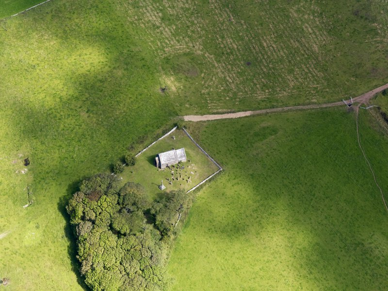 Oblique aerial view of Kirkmadrine Church, taken from the S.