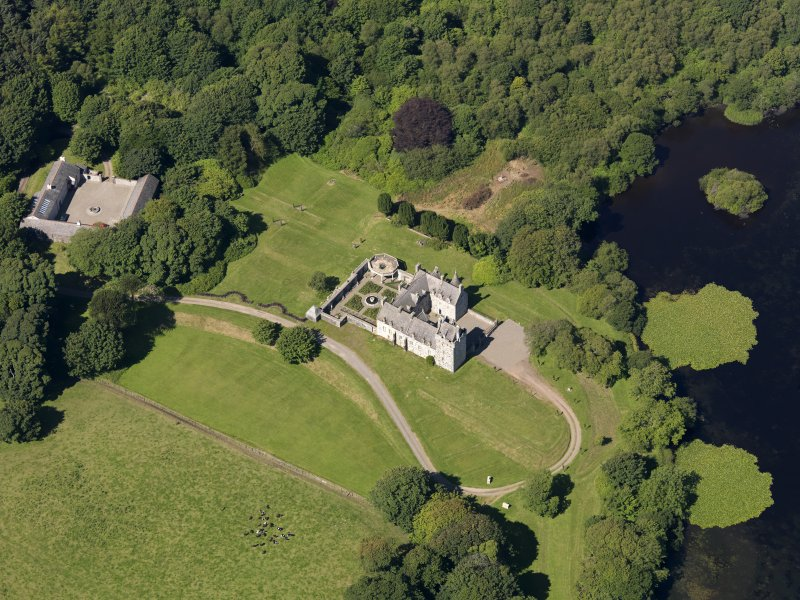 Oblique aerial view of Lochnaw Castle, taken from the E.