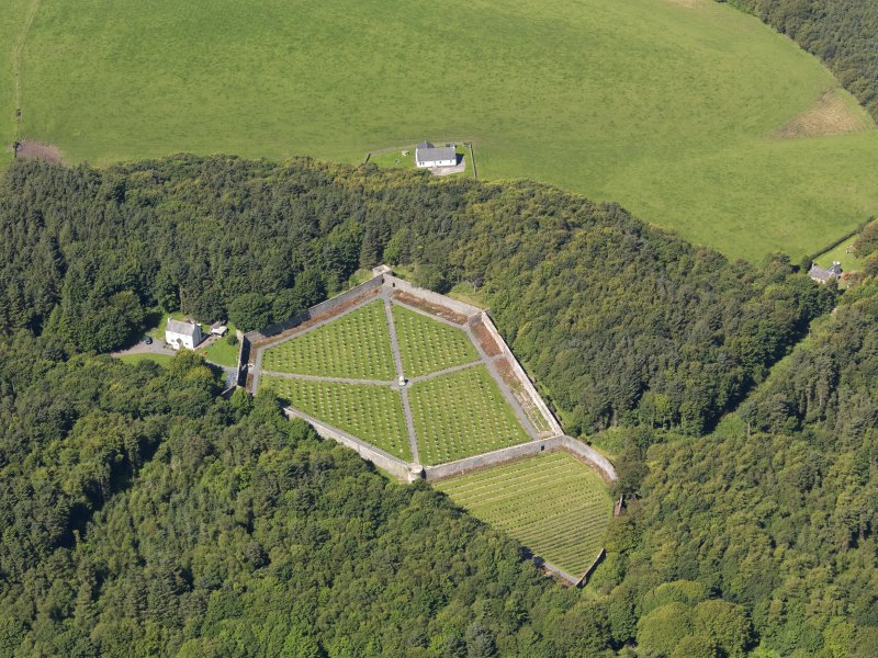 Oblique aerial view of Lochnaw Castle walled garden, taken from the ESE.