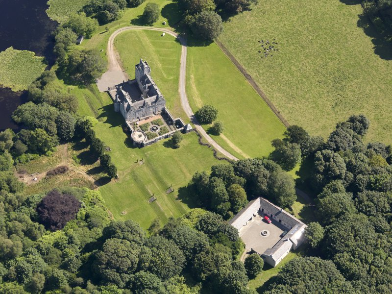 Oblique aerial view of Lochnaw Castle, taken from the WSW.