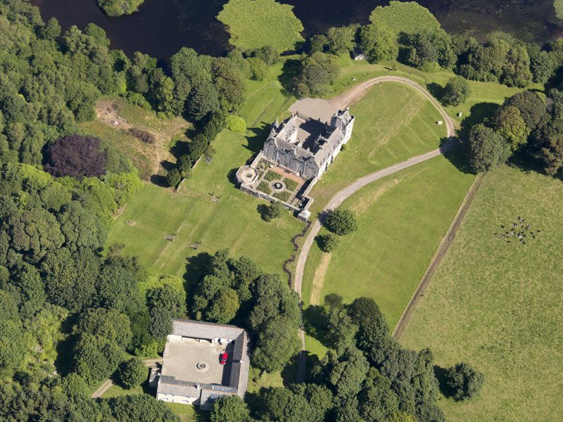 Oblique aerial view of Lochnaw Castle, taken from the SSW.