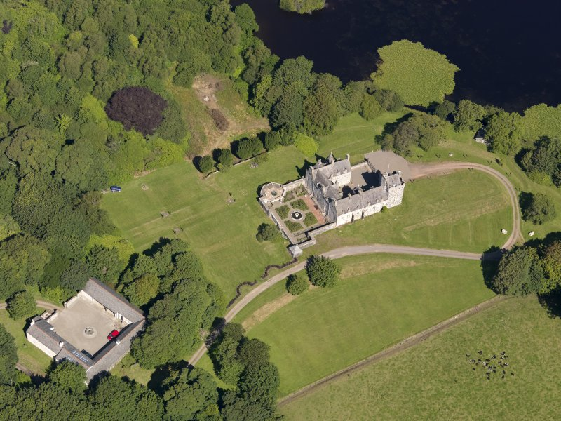 Oblique aerial view of Lochnaw Castle, taken from the SSE.