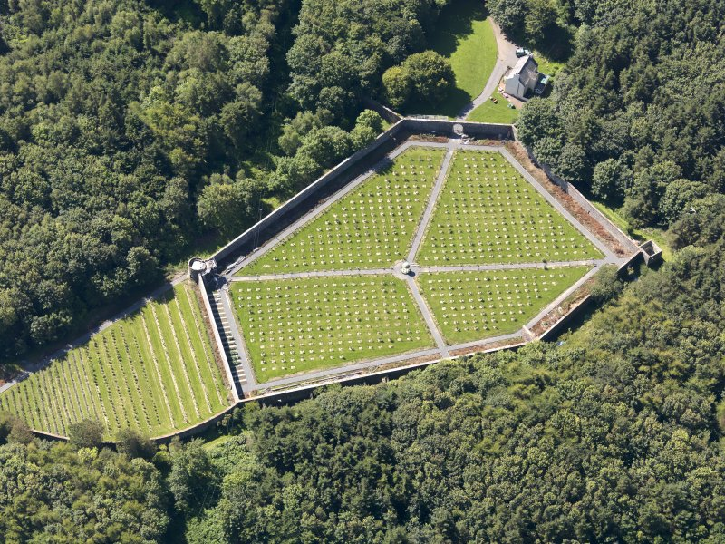 Oblique aerial view of Lochnaw Castle walled garden, taken from the N.