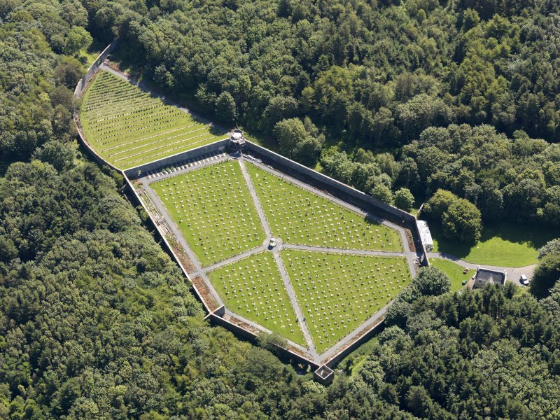 Oblique aerial view of Lochnaw Castle walled garden, taken from the NW.