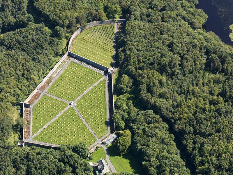 Oblique aerial view of Lochnaw Castle walled garden, taken from the SW.
