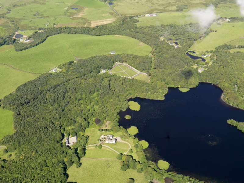 General oblique aerial view of Lochnaw Castle and policies, taken from the SE.
