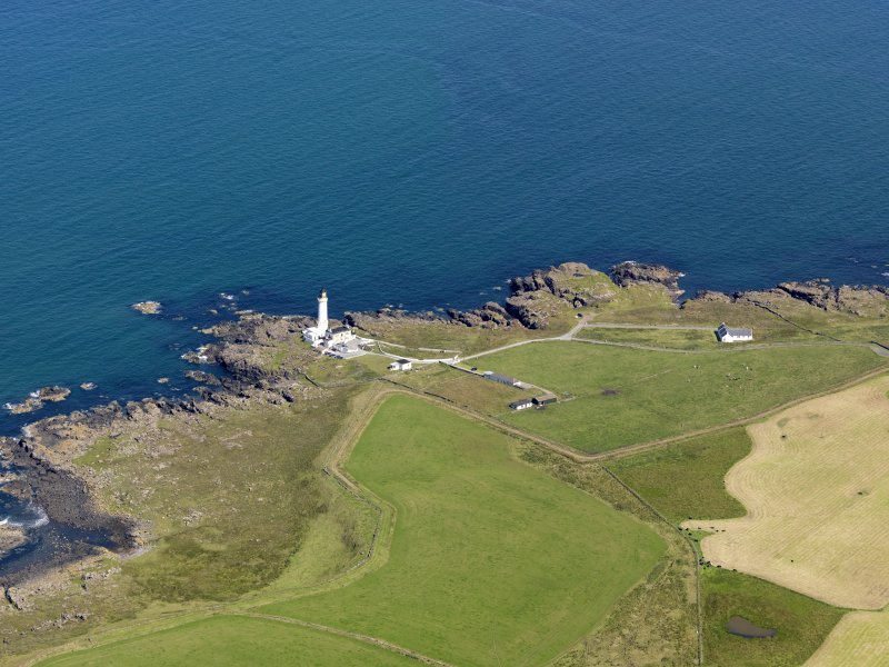 General oblique aerial view of Corsewall Lighthouse, taken from the SSW.