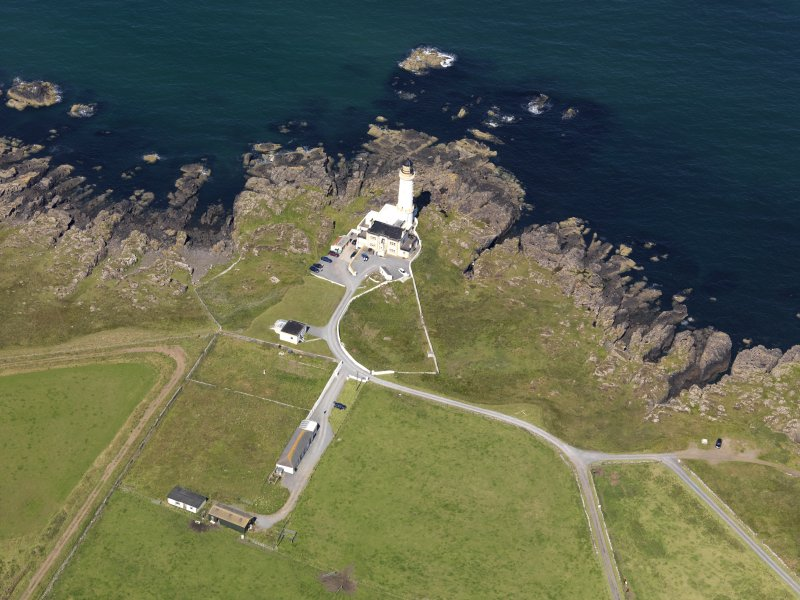 Oblique aerial view of Corsewall Lighthouse, taken from the ESE.