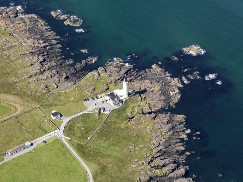 Oblique aerial view of Corsewall Lighthouse, taken from the ENE.