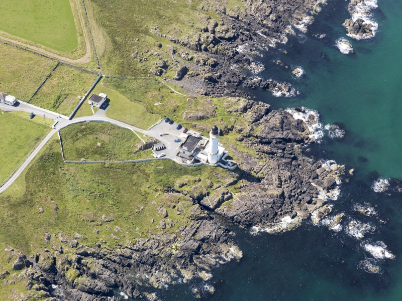 Oblique aerial view of Corsewall Lighthouse, taken from the NE.