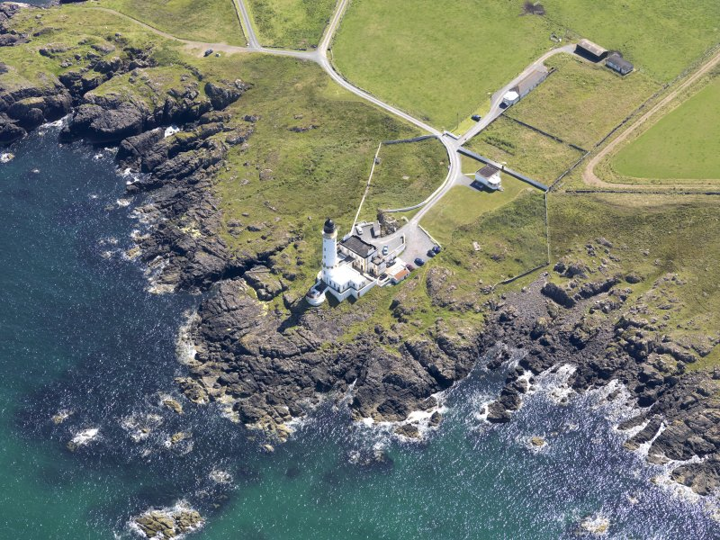 Oblique aerial view of Corsewall Lighthouse, taken from the WNW.