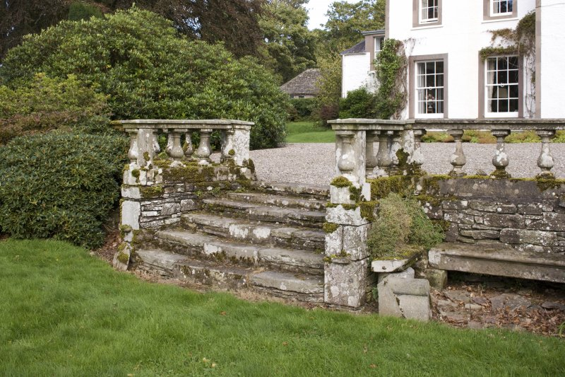 Stone steps to west of house from south west.
